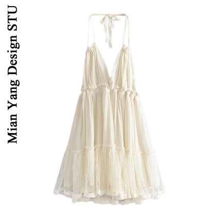 澳洲小众设计海岛度假风仙女裙子蕾丝拼接深V性感露背挂脖吊带裙