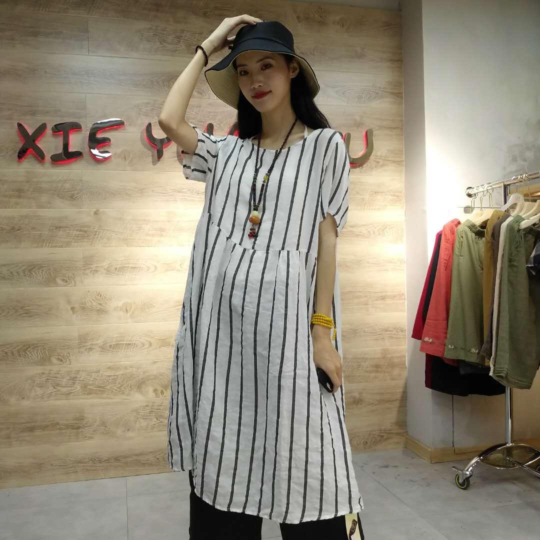 夏季新款女装品质竖条纹连衣裙 9859
