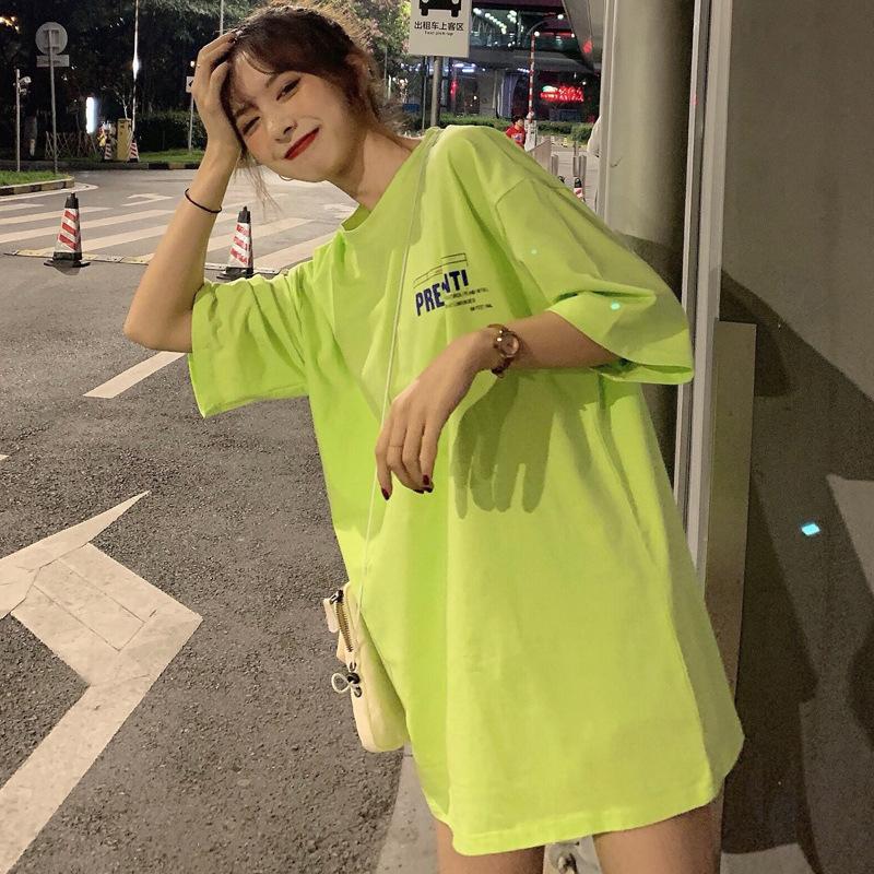 2020 summer net red ins fashion letter print womens short sleeve T-shirt womens loose round neck medium long T-shirt
