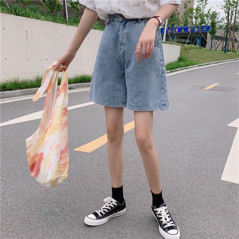 实拍实价 牛仔五分裤短裤女高腰宽松裤子2019网红A字阔腿