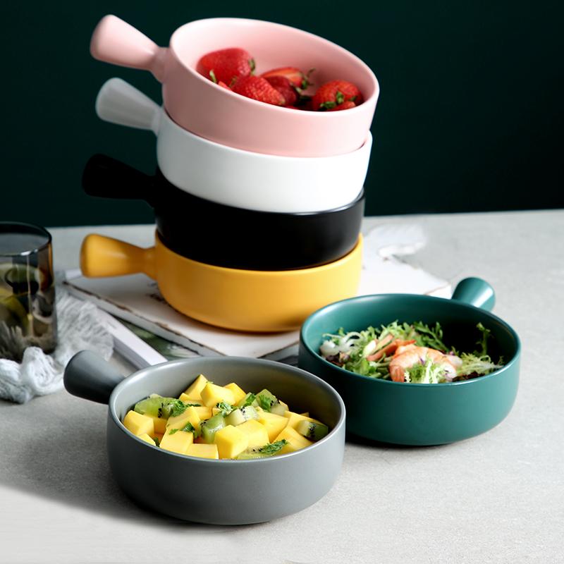 北欧烘培盘带手柄烤箱专用陶瓷盘子创意早餐焗饭盘水果沙拉盘家用