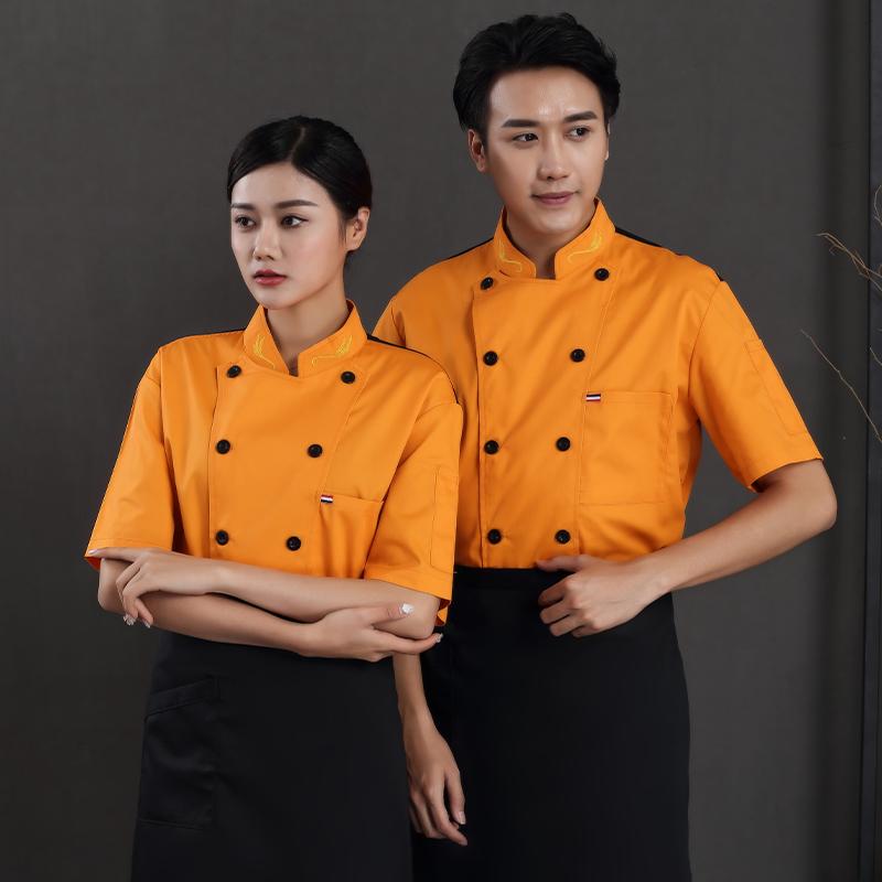 面包烘焙师工作服订做印字厨师服装半袖夏装蛋糕服裱花师制服点心