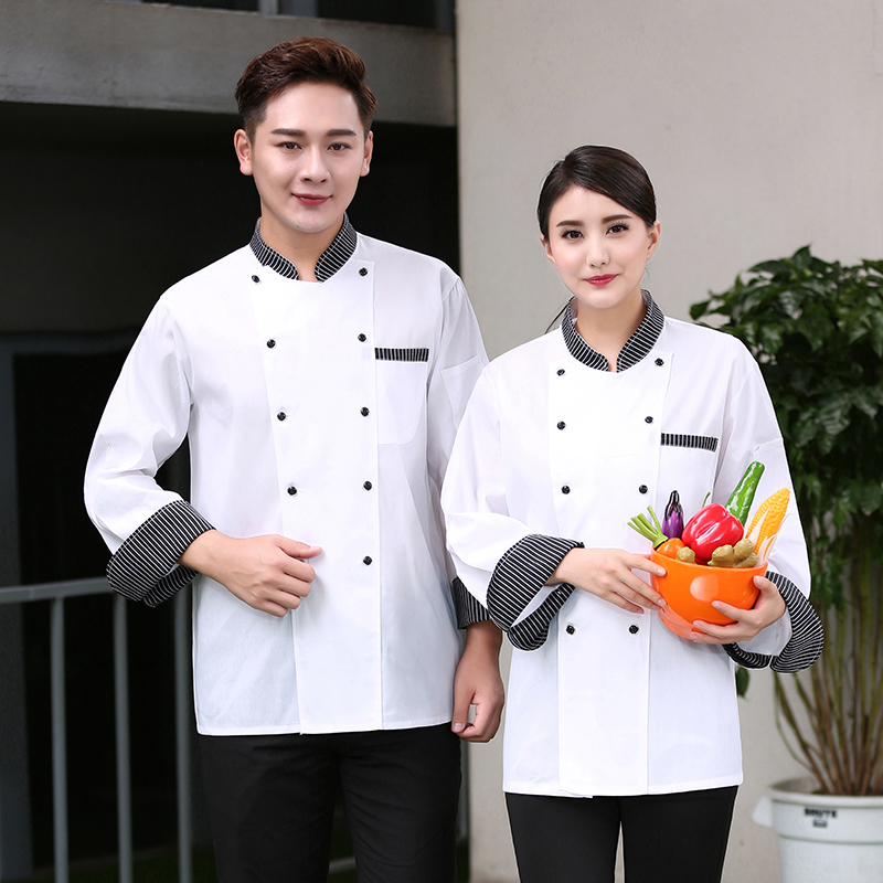 Hotel chefs clothes long sleeve cake room work clothes Bakers uniform Bakers work clothes flower mounting masters autumn and winter clothes