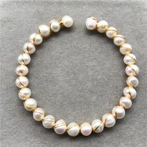 K69天然淡水白珍珠14K注金编织手链手镯手排女款