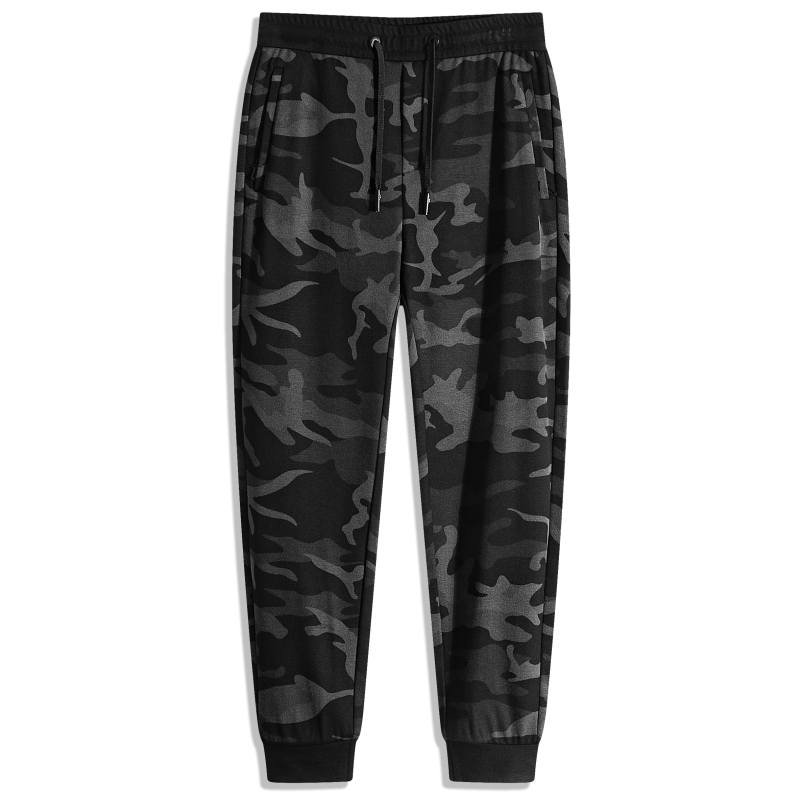 Autumn and winter camouflage knitted high elastic sports pants mens lace up elastic waist slim fit small leg pants fashionable mens thick