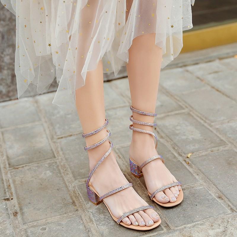 女镂空夏季带钻缠绕脚踝水钻镶钻平底凉鞋女 中跟 坡跟 水钻 时尚