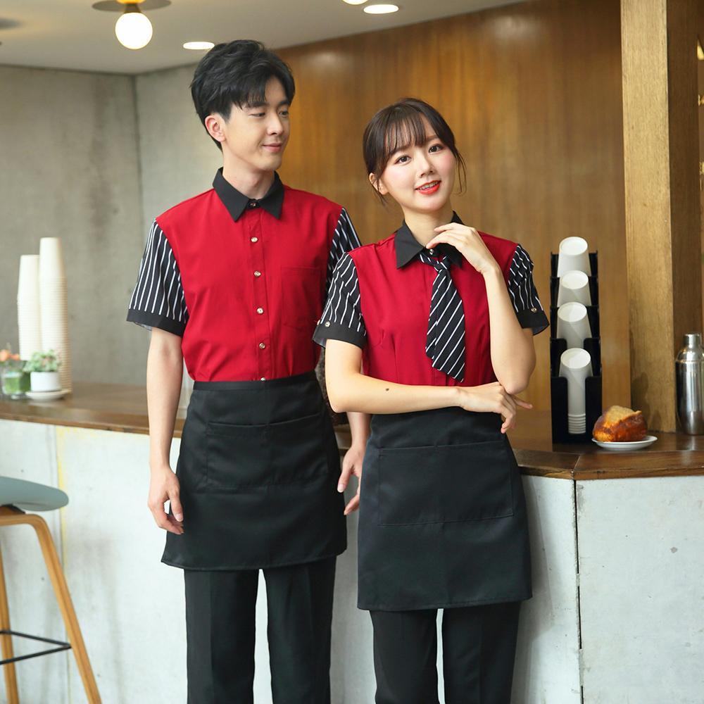订制酒店服务员工作服夏天装西餐厅咖啡馆餐饮制服短袖网咖工装女