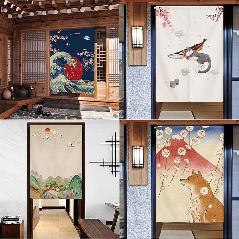 日式门帘隔断帘半截宿舍布艺帘子装饰空调挡风小窗帘日本和风挂帘