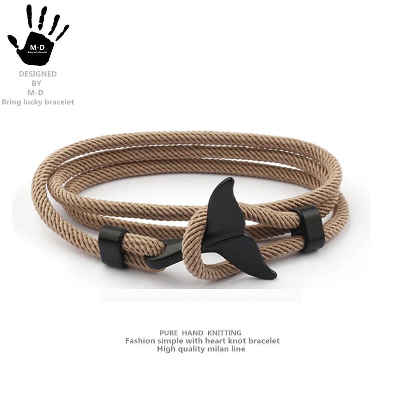 ins 欧美鲸鱼尾手工编织手绳