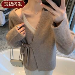 【现货闪发】FFAN泛泛 绑带针织开衫女2019秋季狐狸绒宽松长袖披