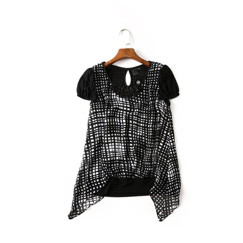 18夏款【台湾品牌】 玛德琳黑白格纹雪纺上衣 3031A