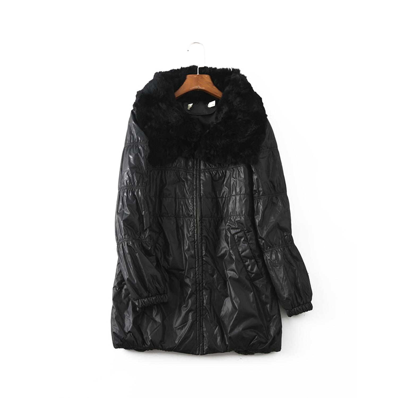 17冬 知名品牌 民G  高雅奢华毛领中长保暖棉衣外套F601