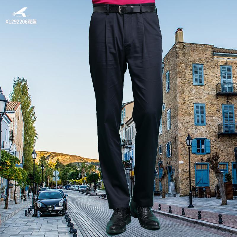 Huangka spring and summer mens pants mens pants business casual pants mens pants straight loose cotton black Khaki