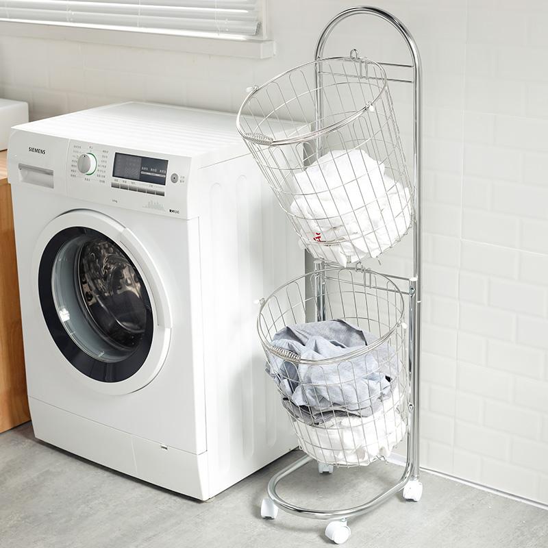 日本进口不锈钢脏衣篮洗衣篮脏衣服收纳筐家用放衣服的篮子脏衣篓