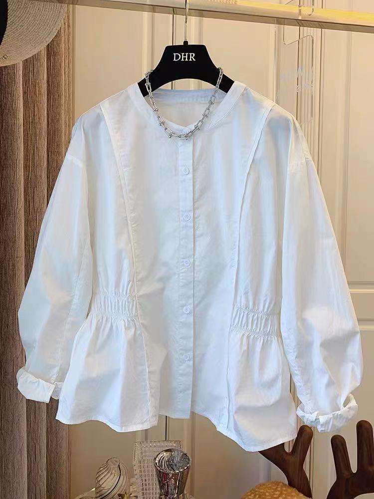 6213设计感小众法式文艺松紧收腰包边门襟对称褶皱棉布衬衫2021秋