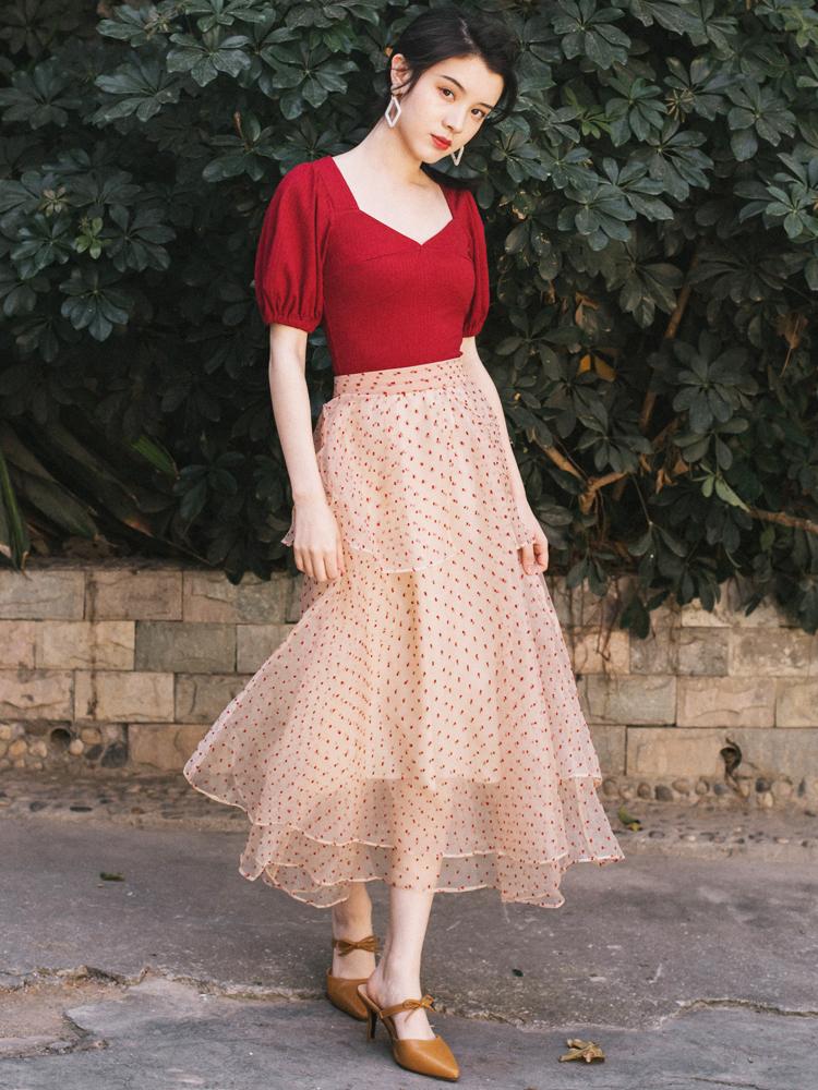 斌斌家夏季维多利亚复古裙法国小众两件套女网红套装裙洋气很仙夏
