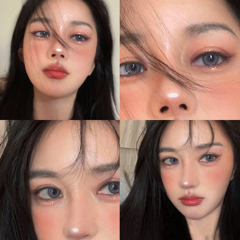Hashimoto Huanai the same type of dog eye Brown beautiful pupil year toss female small diameter 13.8mm natural contact lens male DX
