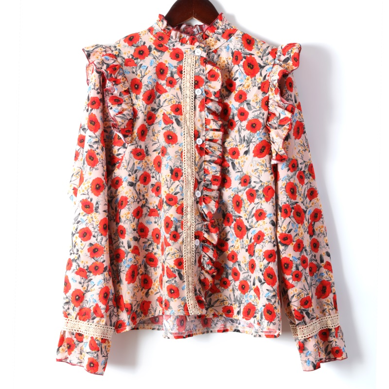 Spring 2020 new floral long sleeve shirt Ruffle small high neck lace shirt top women