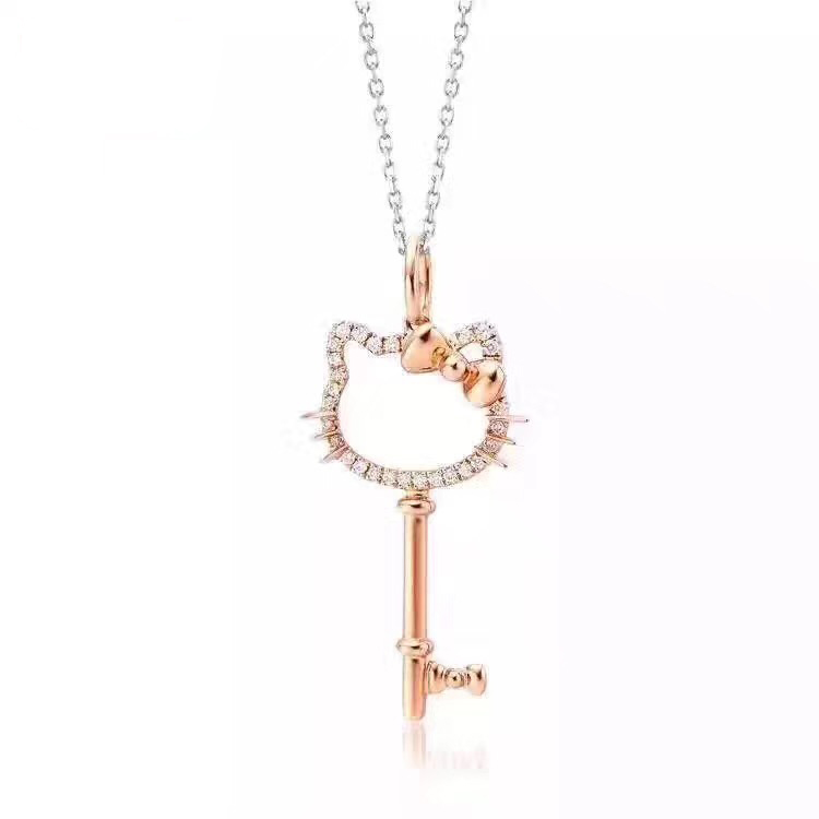 Double 12 best selling 18K Gold Diamond Necklace cute kitty cat key pendant with chain certificate