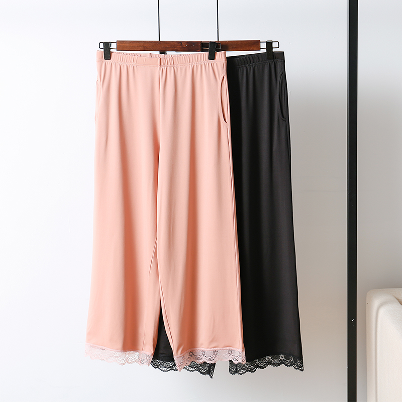 Thin ice silk Capris shorts loose large casual home pants lace middle-aged and young womens pajamas wide leg straight tube