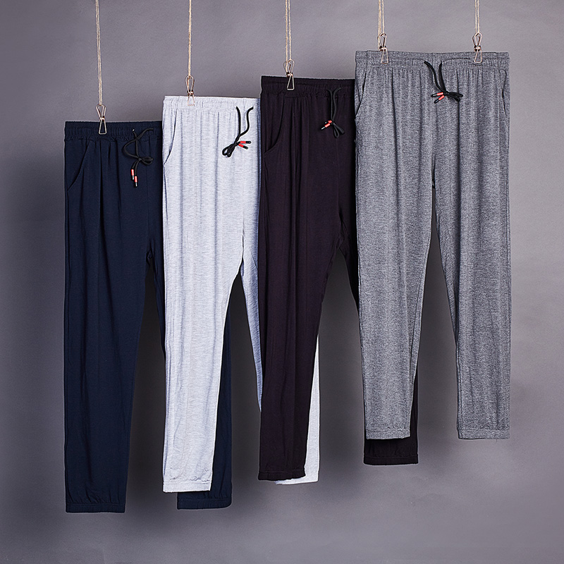 Summer pajamas mens modal cotton thin home pants loose adult anti mosquito air conditioning pants cotton silk 9-part outer pants