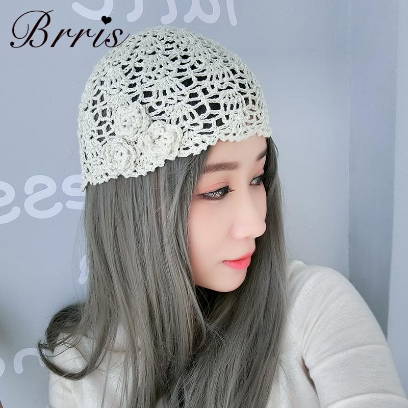 原创欧美蕾丝帽子女薄款手工编织镂空春夏帽透气针织头巾帽包头帽