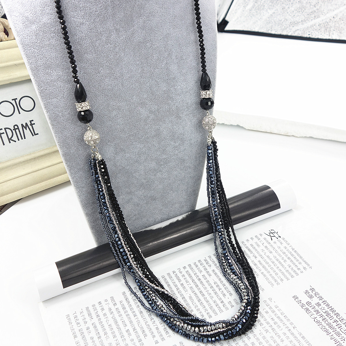Necklace womens multi-layer crystal tassel Japanese and Korean fashion versatile skirt assembly accessories pearl sweater chain long chain summer