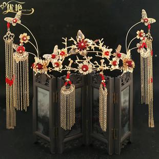 2019新款中式古裝新娘鳳冠秀禾服頭飾金色流蘇敬酒服結婚禮髮飾品