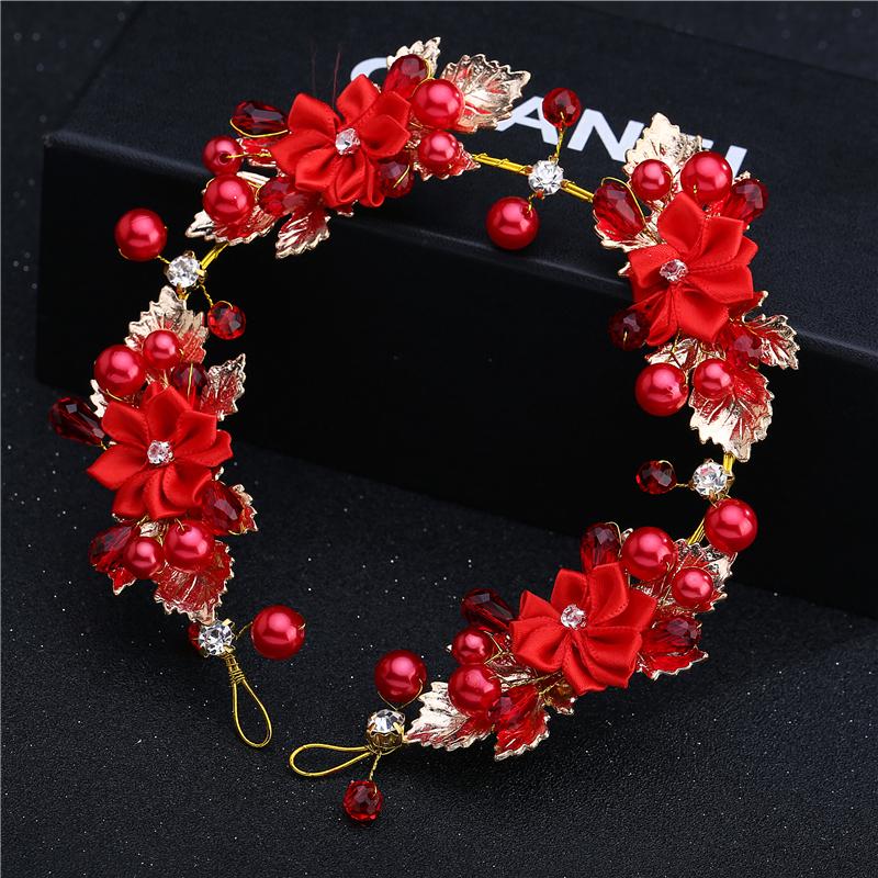 韩式新娘皇冠头饰红色蕾丝结婚中式发饰敬酒服婚庆礼服配饰品