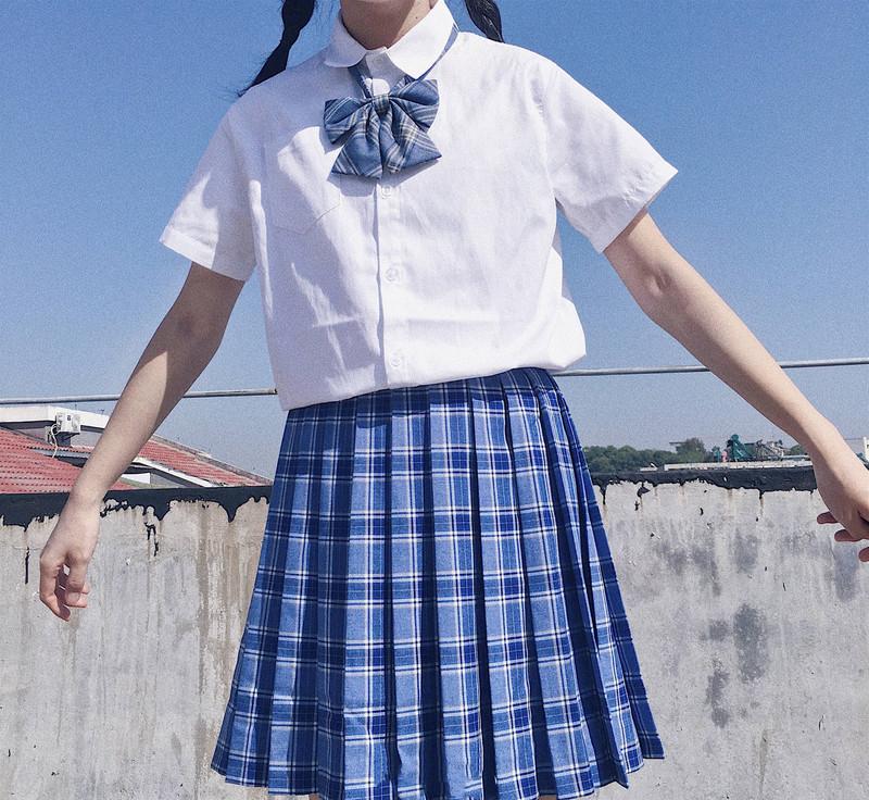 11-06新券日系校服JK制服套装短袖衬衫格子百褶裙领结软妹少女英伦风三件套