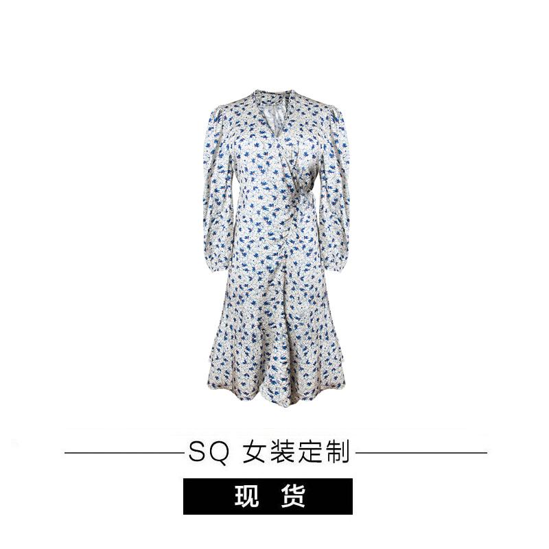 SQ大姐姐 姐姐喜欢的裙子 V领显瘦连衣裙长款碎花裙