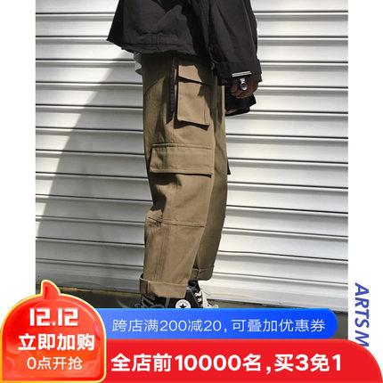 @港仔文艺男 ins超火的宽松直筒工装裤冬韩版潮牌加绒加厚休闲裤