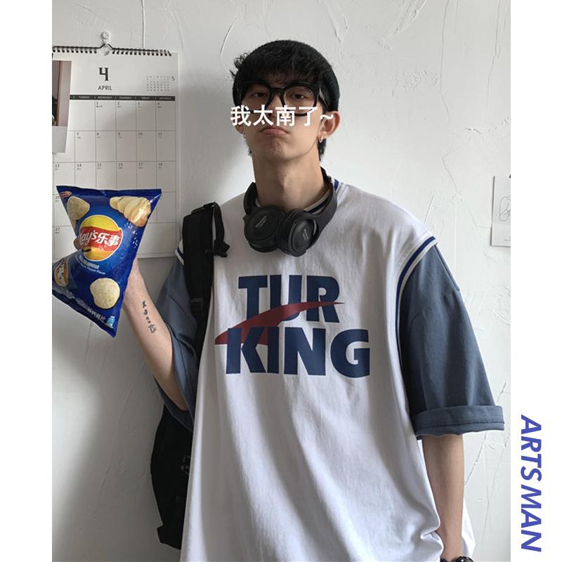 @港仔文艺男 夏季假两件短袖T恤男士潮流百搭宽松字母半袖衣服潮