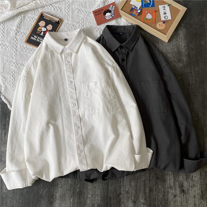@港仔文艺男 复古港风日系白色衬衫韩版潮流帅气宽松长袖衬衣外套
