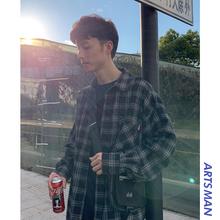 @港仔文艺男 夏季男士格子长袖日系衬衫韩版宽松潮流百搭衬衣外套