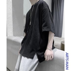 @港仔文艺男 暗黑风ins潮流侧边开叉黑色短袖T恤韩版纯色五分袖潮