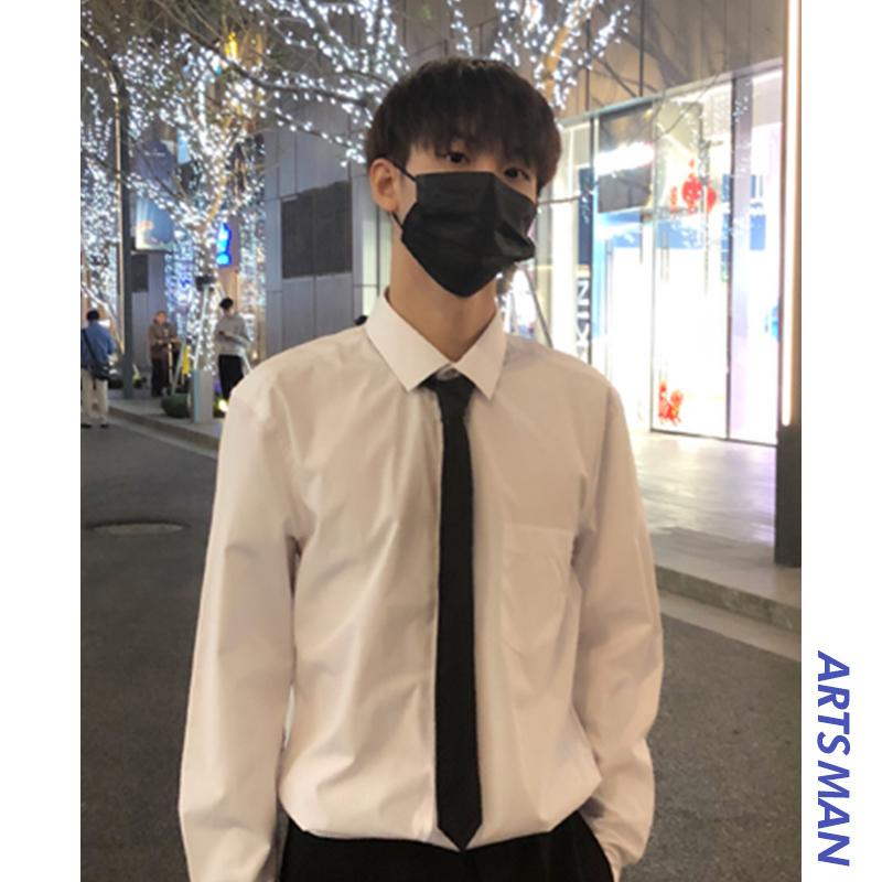 @港仔文艺男韩版男士长袖秋白衬衫58.00元包邮