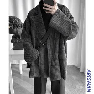 @港仔文艺男秋冬季中长款毛呢大衣