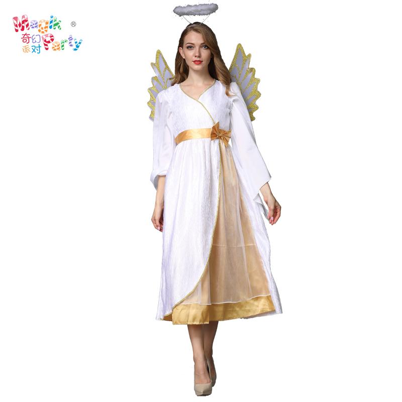 万圣节儿童表演亲子服装成人白色天使裙Cosplay化妆舞会演出服