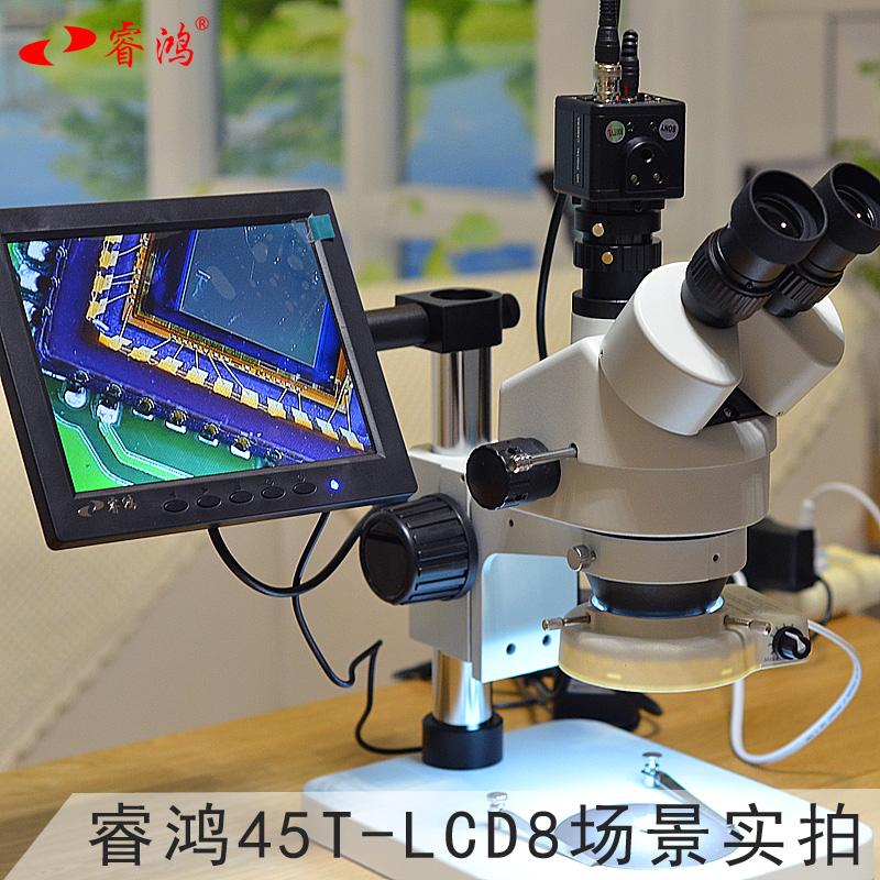 睿鸿45T-LCD8工业体视数码显微镜放大镜精工件维修显示屏测量拍摄