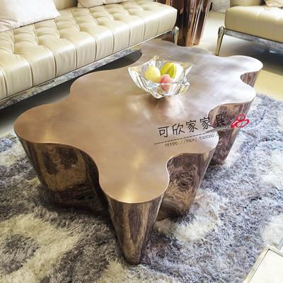 新款全不锈钢树根茶几高端镀金色茶台创意设计师客厅家具方桌413