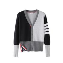 2018秋冬新款长袖V领开衫外套男女同款拼色宽松毛衣针织衫打底衫