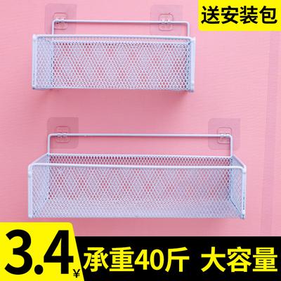 墙上置物架床头挂篮免打孔收纳盒卫生间厨房壁挂式挂墙面宿舍神器
