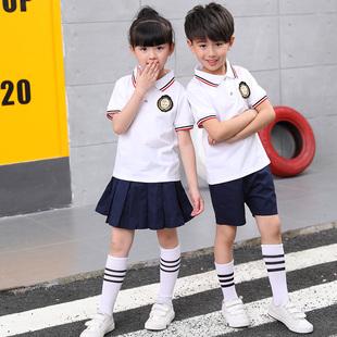 夏款幼儿园园服毕业服夏季小学生班服儿童校服套装纯棉短袖短裤裙