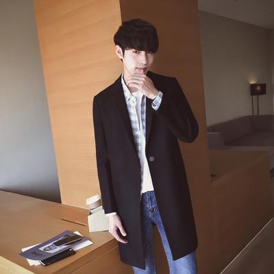 秋冬韩版修身毛呢大衣男士中长款风衣潮男装呢子外套 F201P115