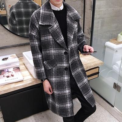2017秋冬装韩版格子大衣男士中长款翻领呢风衣男宽松外套 D23P100