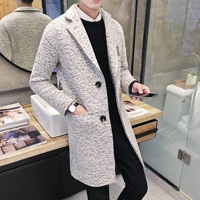 冬装韩版男士风衣中长款羊毛呢大衣修身英伦男装呢子外套F03P135