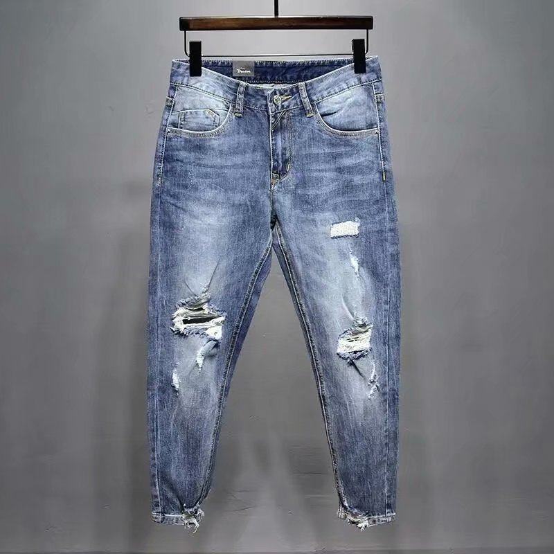 Fat man size 38 micro cone middle waist worn hole work nine point light blue jeans summer slim elastic small foot men