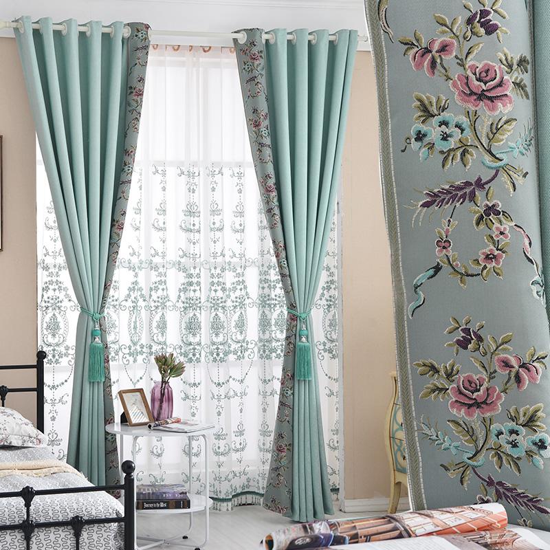 美式棉麻平面窗帘田园加厚遮光布料成品简约现代卧室客厅欧式书房