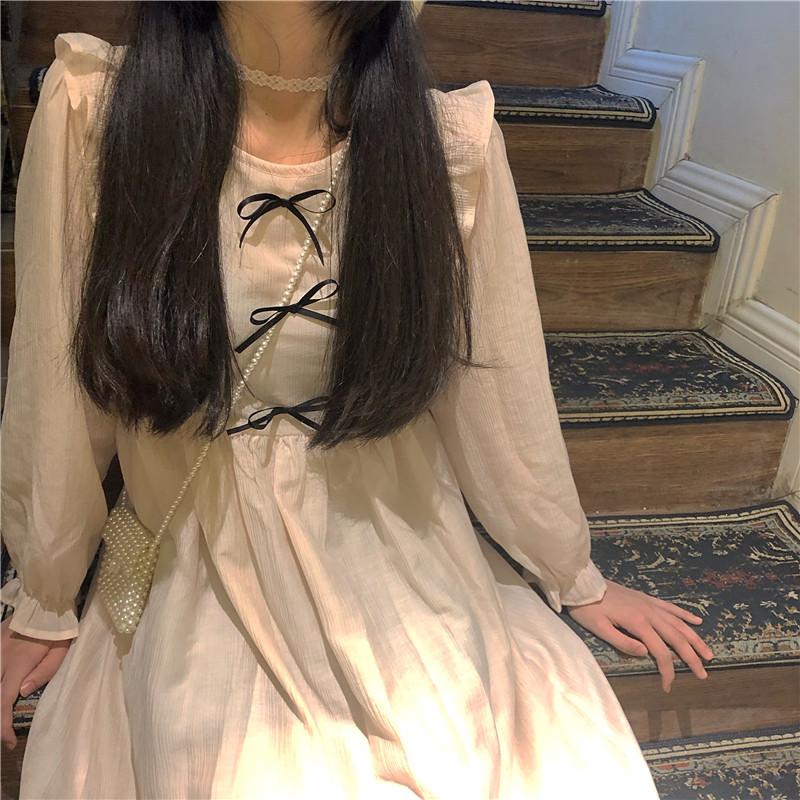 the ture温柔杏粉色蝴蝶结连衣裙12-01新券